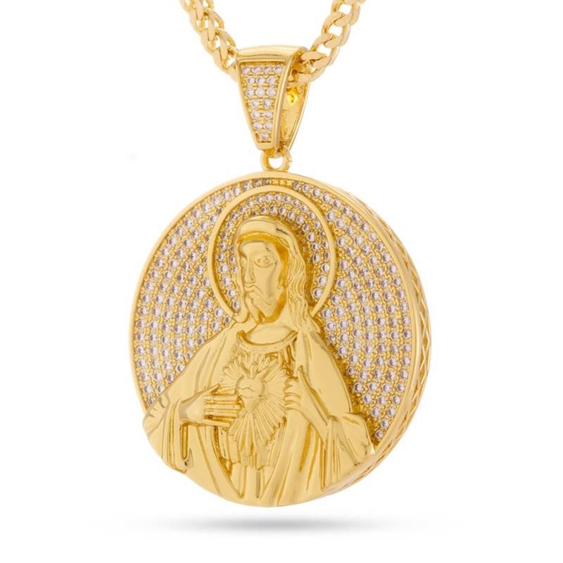 King Ice King Ice Sacred Heart Jesus Medallion Necklace