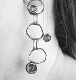 Ginger Meek Allen   Art Jewelry Stacked Earrings 3-tiered Labradorite