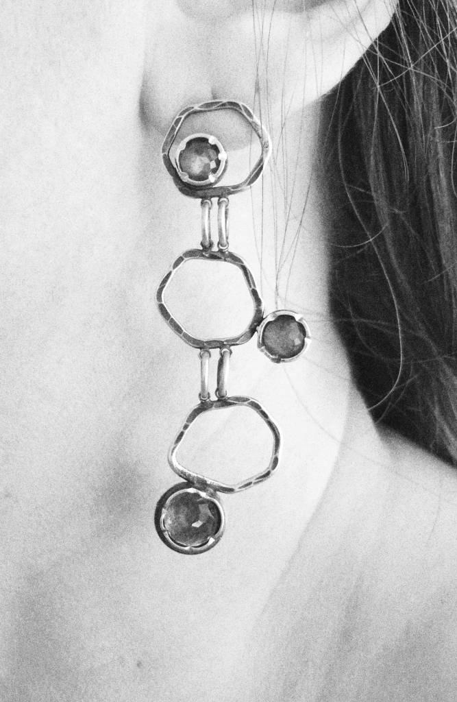 Ginger Meek Allen | Art Jewelry Stacked Earrings 3-tiered Labradorite