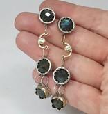 Musings Fancy Earrings with Labradorite and Diamonds - long
