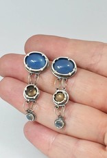 Musings Fancy Earrings with Blue Chalcedony, Smokey Quartz, and Rainbow Moonstone