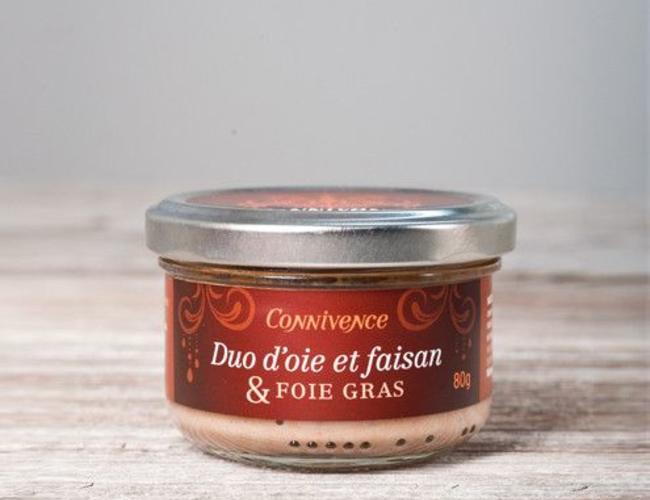 Duo d'oie et faisan et foie gras