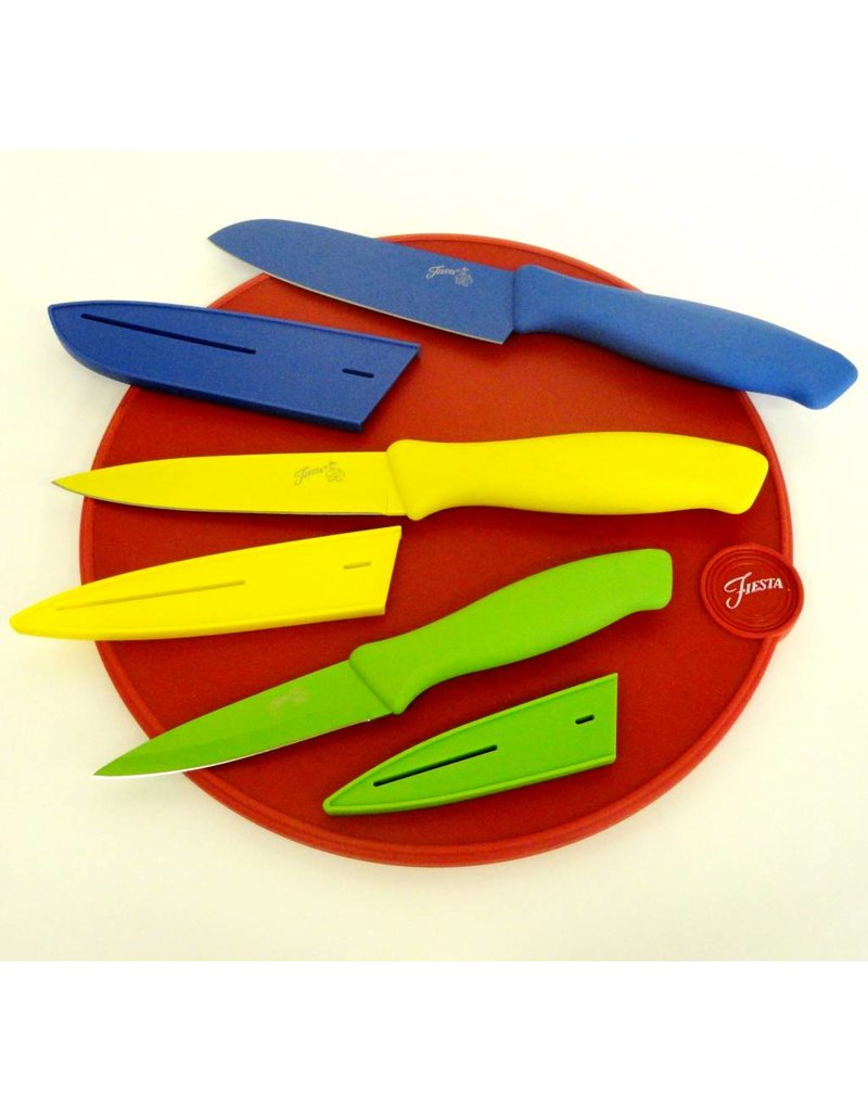 7 Pc Multi Color Cutlery and Fiesta® Scarlet Cutting Board Set