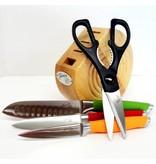 5 pc Cutlery Prep Block Set Multi Color
