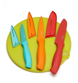 7 Pc Multi Color Cutlery and Fiesta® Lemongrass Cutting Board Set