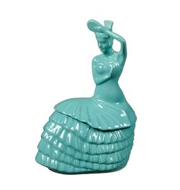 Dancing Lady Cookie Jar Turquoise