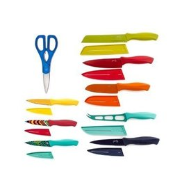 17 pc Solid Color and Decal Cutlery Set