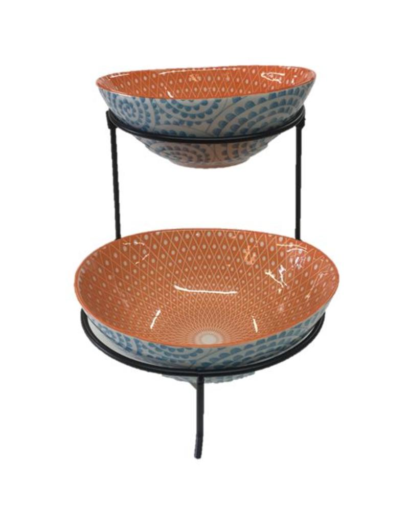 Aqua Swirl 2 Tier Oval Serving Bowls