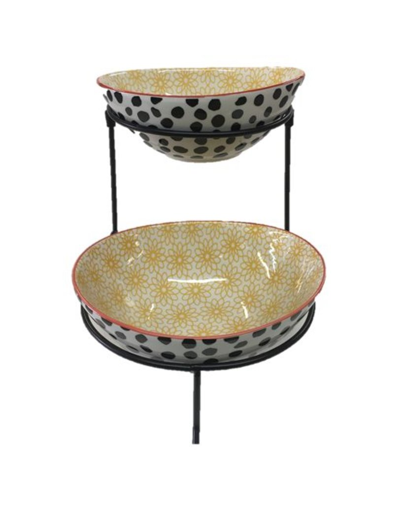 Daisy Dots 2 Tier Oval Serving Bowls