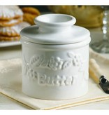 Butter Bell Crock White Raised Floral