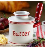 Butter Bell Crock Parisian Polka Dot RED