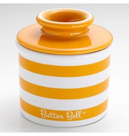 Butter Bell Crock Tangerine Yellow Striped