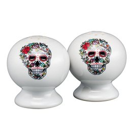 Sugar Skull and Vine Salt & Pepper Set