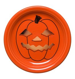 The Homer Laughlin China Company Appetizer Plate Halloween Spooky Glowing Pumpkin