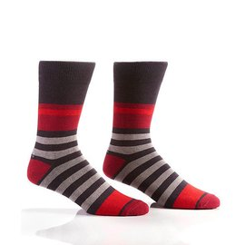 MENS CREW SOCKS GREY/RED STRIPES
