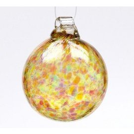 GLASS BALL CALICO AUTUMN LEAVES