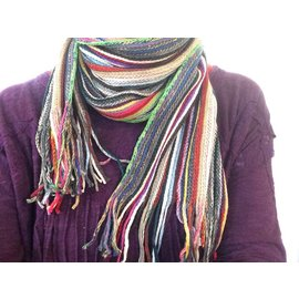 CHEERFUL MULTI COLOR FRINGE SCARF