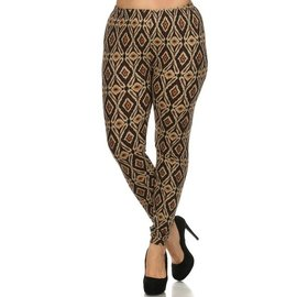PLUS FIT PRINT LEGGINGS- BROWN ORGANIC DIAMONDS