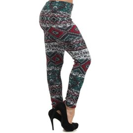 PLUS FIT ONE SIZE LEGGINGS TEAL RASPBERRY PRINT