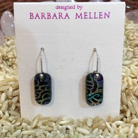 HANDCRAFTED DICHROIC GLASS EARRINGS - BLACK FILIGREE