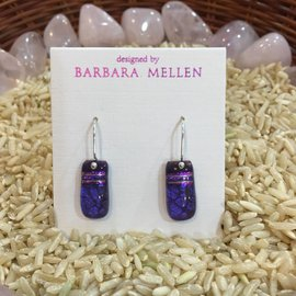 HANDCRAFTED DICHROIC GLASS EARRINGS -PURPLE