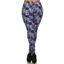 PLUS FIT ONE SIZE LEGGINGS- PINK LIGHT BLUE DIAMONDS