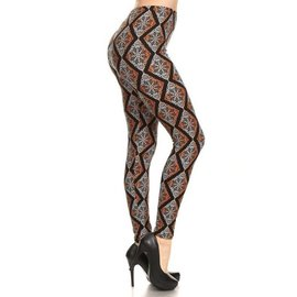 PLUS- AMBER DIAMOND MANDALA  ONE SIZE LEGGINGS