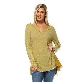 MINERAL WASH FRAYED TOP