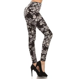 O/S BUTTERSOFT LEGGINGS - GREY ROSES