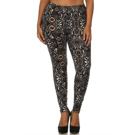 PLUS O/S SOFT LEGGINGS - BLACK TAN AZTEC