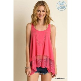 UMGEE LACE TRIM RIBBED TANK