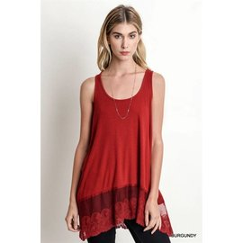 UMGEE Romantic Lace Hem Tank Tunic