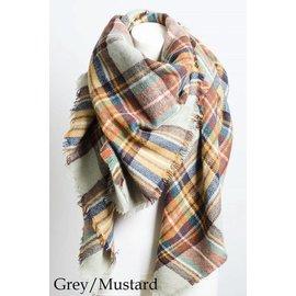 MUSTARD - GREY HEATHER PLAID SCARF