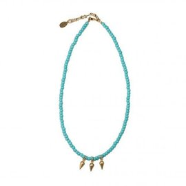 TURQUOISE BEADED GOLD SPIKES CHOKER
