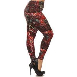 Plus Leggings - Red Kilim Tapestry
