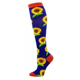 PLUM SUNFLOWERS KNEE SOCKS
