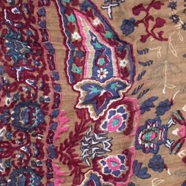 Taupe Pink Blue Paisley Gauze Scarf