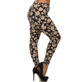 Plus Leggings - Tan Roses