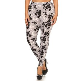 Plus Leggings - Shadow Leaves