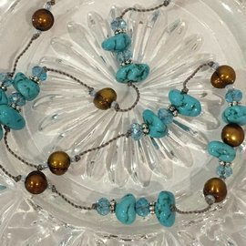 Turquoise and Dark Pearls on Silk Necklace