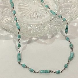 TURQUOISE HEISHI on Silk Necklace