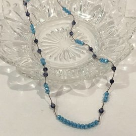 Aqua and Blue Beads on Silk Necklace