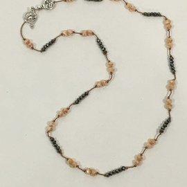 Petite Peach and Grey Beads on Silk Cord