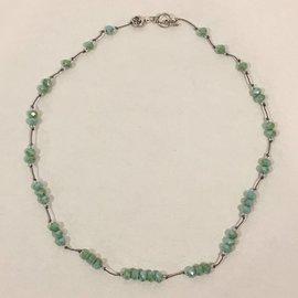 Green Cut Crystal Beads on Silk Cord