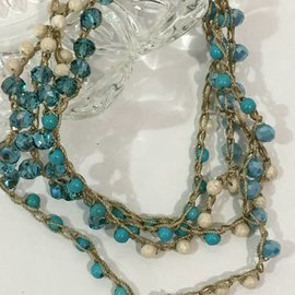 Long Turquoise and Crystal Crochet Necklace
