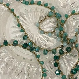 Greens Crystal Long Crochet Necklace