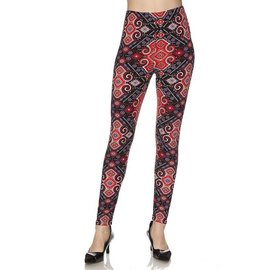 Leggings- Black Red Tapestry