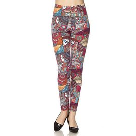 Plus Leggings- Cherry Red Patchwork