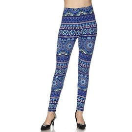Plus Leggings- Royal Delft Bands