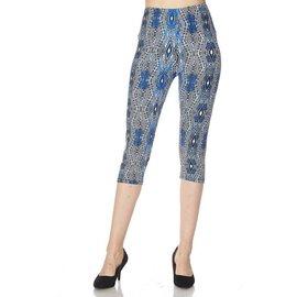 Capri Leggings- Blue Batik Diamonds